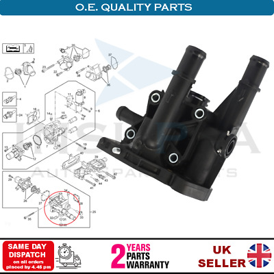 Vauxhall/opel Insignia Astra H Zafira B Gm Fiat Thermostat Housing Cover 1338177