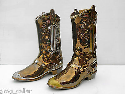 Jim Beam Cowboy Boot Decanters From 1994 Pair Gold & Silver- Rare!!!!!!