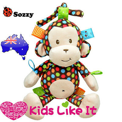 NEW Baby INFANT 32CM Plush Dotty MONKEY Pram COT Hanging MUSICAL Nursery TOY