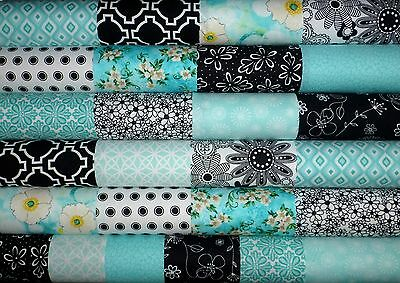 26 Teal Black White Cotton Fabric Quilting Patchwork 5 inch Charm squares #41b