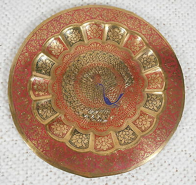 "7"" Enameled Brass Peacock Plate by SHASHI EMPORIUM Basheerbagh Hyderabad"