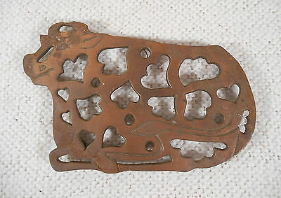 """7"""" x 6"""" Copper Tone Cow Shaped Iron Metal Trivet / Hot Plate / Wall Hanging"""