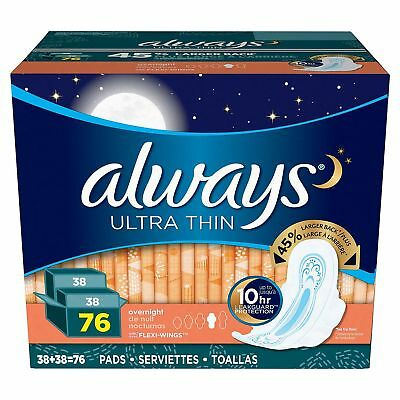 Always Ultra Thin Overnight Pads with Wings - 76 ct. Comfort Brand New