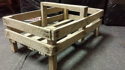 French Hand Made Rustic Wooden Gardening Field Storage Trug Boxes Crates
