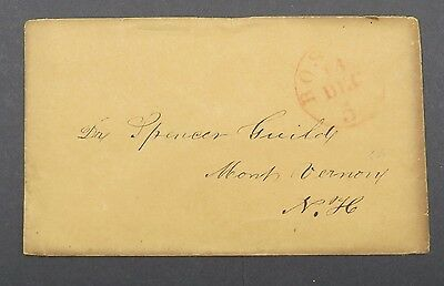 Boston Dec Cancel on Cover Stampless USA Vorphila Brief (Lot 4320