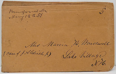 May 1851 Pre Philatelic Vorphila on US Cover Post Brief Lake Village USA (A2972