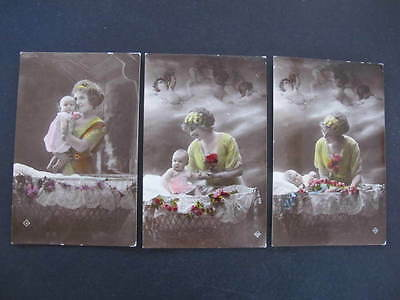 3 old Postcards Mother & Baby Hand Tinted