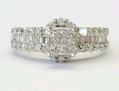 14k White Gold 1.24 Ct Natural Diamond Invisible Setting Halo Engagement Ring