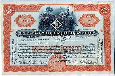 William Whitman Company Stock Certificate