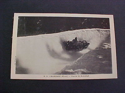Bobsledge old Postcard Chamonix Course de Bobsleigh