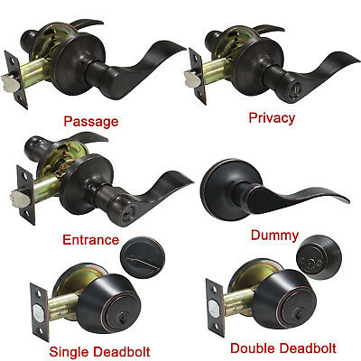 Oil Rubbed Bronze Door Levers Lock Entry Keyed Privacy Passage Dummy Deadbolt