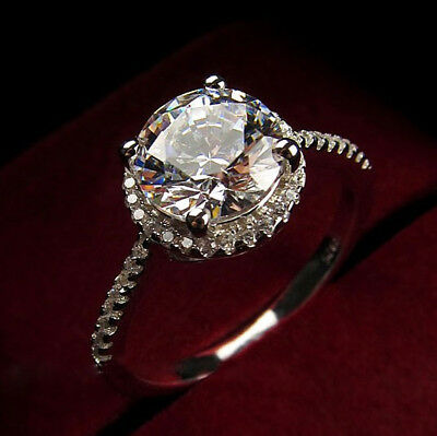 18k White Gold Filled with Silver 2 Carat Wedding Bridal Engagement Ring R129