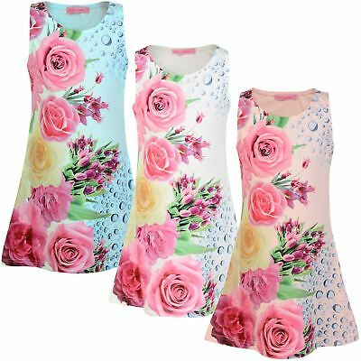 Girls Floral Print Sleeveless Mini Dress Kids Fitted Style Summer Party Top 3-14