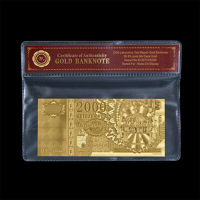 WR 24K Gold Banknote 2000 HUF Forint Hungary 2000 Millennium 24k Gold Note + COA