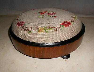 ANTIQUE MID VICTORIAN FOOT STOOL WALNUT WOOLWORK POUFFE c1860-80 VINTAGE STOOL
