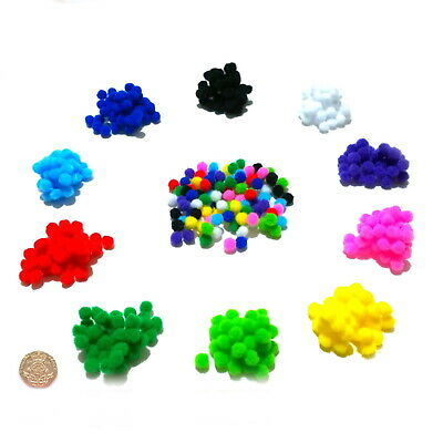 Finest Quality Small Pom Poms 8mm 10 Colours or Assorted Packs of 50-500 Pompoms