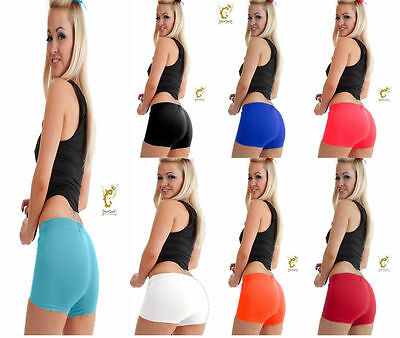 New Ladies/Girls Neon Lycra Stretchy Sexy Hot Pants Shorts Dance Gym Party
