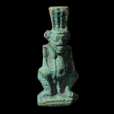 Ancient Egyptian Faience Amulet Of Bes