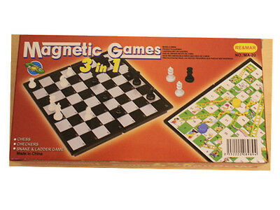 3 in 1 Magnetic Travel Board Game Chess Checkers Snakes and Ladders MA20
