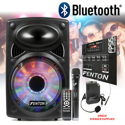 """Powered PORTABLE PA SPEAKER 15"""" Bluetooth with Lights Wireless Mic"""