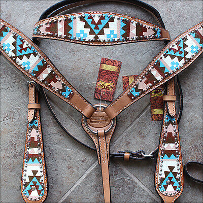 Hilason Western Leather Horse Bridle Headstall Breast Collar Aztec Hand Paint