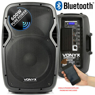 "Vonyx AP1200ABT Active Powered PA DJ Disco 12"" ABS Bluetooth Speaker System 600W"
