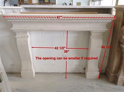 Beautiful Hand-Carved Marble Estate Fireplace Mantel