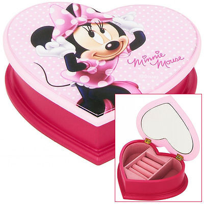 Kids Childrens Girls Pink Disney Minnie Mouse Heart Jewellery Box With Mirror