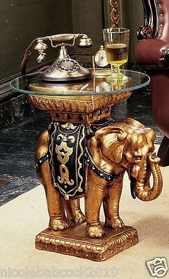 Ancient India Elephant Rajah Sculptural With Glass Top Display Table Shelf 21Lbs