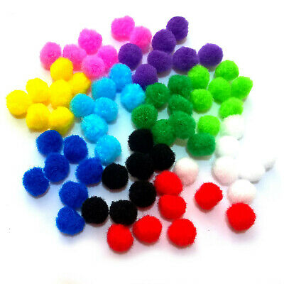 Craft Pom Poms 15mm 10 Colours in Single & Assorted Colour Packs of 50 to 300