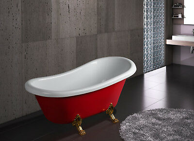 """67"""" Glamourous Acrylic Freestanding Bathtub with Curved w/ Tub Filler Faucet"""