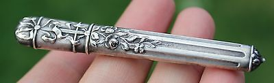 Antique French Silver Floral Needle Case