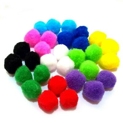"""Craft Pom Poms 25mm (1"""") Single or Assorted Colour Pompoms in Packs of 25-200"""