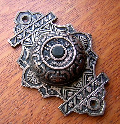 New Fancy Ornate  Cast Brass Victorian Doorbell Button
