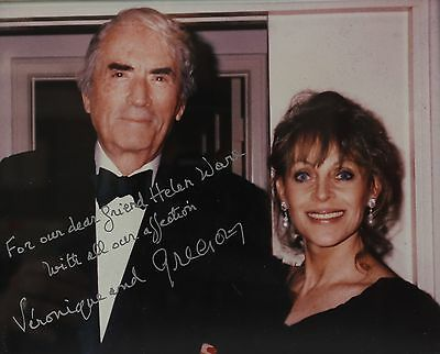 Autographed Photograph Gregory Peck with Wife Veronique c1990s, with Inscription