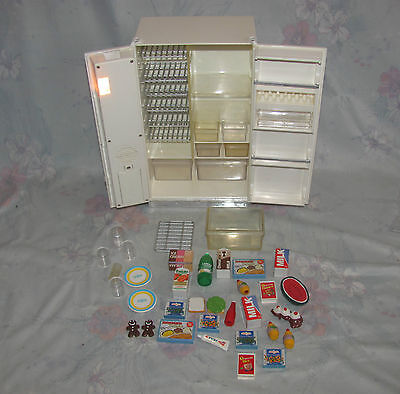 1996 Barbie Size Refrigerator - Working - Electronic, Lights Up, Sounds - Food