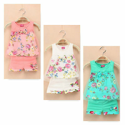 Girls Baby Birthday Outfit Top and Pants Floral Party Summer Tulle 2 Pcs Set