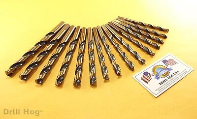 "Drill Hog USA 15 Pc Drill Bit Set 9/32"" - 1/2"" Molybdenum M7 Lifetime Warranty"
