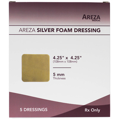 "Silver Foam  4.25"" X 4.25"" (No Adhesives) (25 DRESSINGS) Healthcare Package"