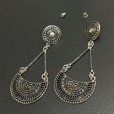 Bohemian Boho Style Ethnic Antique Silver Chain Charm Dangle Women Earrings