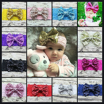 Baby Girls Headband Lace Large Sequin Bow Elastic Hair Band Ribbon Hairbands UK
