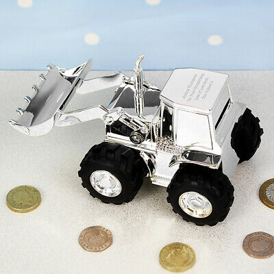 Personalized Engraved Digger Tractor Money Bank - Christening, Birthdays