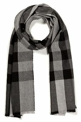 Burberry Merino Wool Colorblock Wool Cashmere Scarf Mid Grey Check RRP $800+
