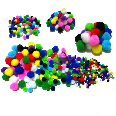 Pom Poms Assorted Colour Packs - fluffy craft pompoms in 10 colours and 3 sizes
