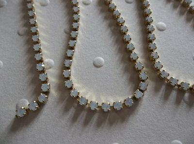 White Opal Czech Crystal 2mm 14PP Rhinestone Chain in Brass - 36 inches