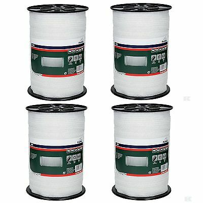 4 X ELECTRIC FENCE POLY TAPE - Four 40mm White 200m Rolls Fencing Horse Grazing