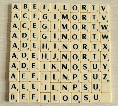 Individual Ivory Plastic Scrabble Tile Letters A - Z With Black Letters & Values