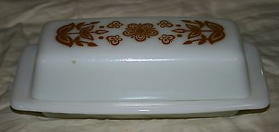 Vintage Pyrex Milk Glass- Gold Butterfly & Flower Design Butter Dish 3 Available