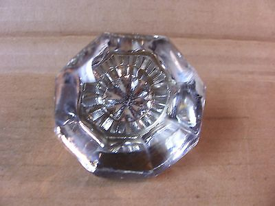 "Antique Glass Door Knob--1920""s--8 Sided--Brass--Hard To Find--2 1/8"" Dia."