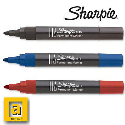 Sharpie M15 Bullet Tip Black Red Blue Permanent Marker intensive usage
